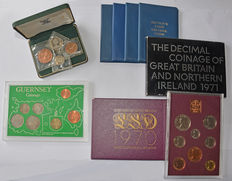 Great Britain & Guernsey - Lot of 9 coin sets 1966/1982