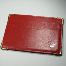 Rolex Red Leather Cards And Cash Holder