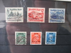 German Empire/Reich 1927/1939 – IAA and Nürburgring race with overprint – Michel 407/409 and 495/497 and Danzig farewell Michel 718/29