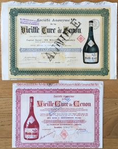 France - lot of 2 historical dekò shares of the Société Anonyme de la Vieille Cure de Cenon, 1921 and 1952