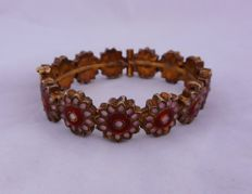 Antique bracelet from the early 1900s in 9 kt gold with Ghulam enamels and rock crystals – Pakistan