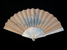 Painted silk range with mother of Pearl - France - early 20th century