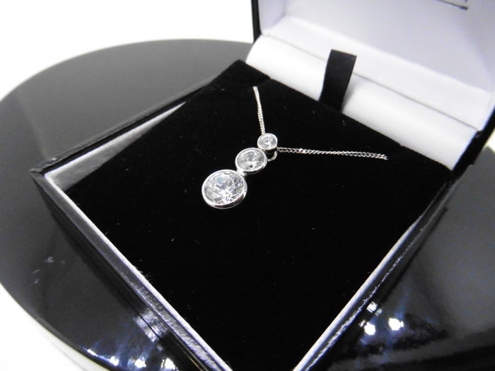 Platinum  Diamond Trilogy Pendant and Chain - 0.80ct I-J SI2-I1