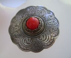 Antique Silver and Coral French  Brooch, ca. 1908, with silver maker's mark for Jeanne Durif
