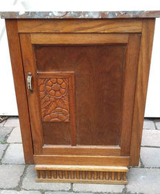 Art Deco hall cabinet with marble top, 1930s, the Netherlands.