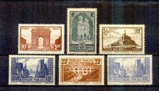France 1930 – Sites and Monuments  – Yvert numbers 258 to 261, 261b, 262