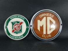 Two (2) Vintage MG Owners Club and MG South Downs Eastbourne Chrome Car Club Badges