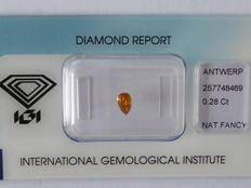 Natural fancy Deep Yellow Orange  diamond  0.28ct  with IGI certificate