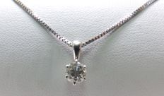 18 kt gold choker with natural brilliant cut diamond of 0.53 ct. L/P (Certificate)