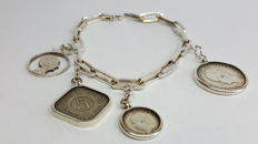 Women's bracelet, 925 silver, set with different old coins, length approx. 20 cm