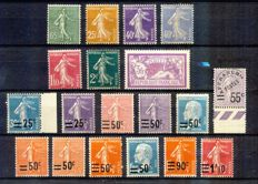 France 1926-27 - 2 definitive series, including signed brown precancelled no. 47 - Yvert no. 217-228 & 234-240