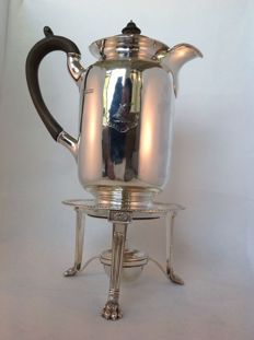 Silver coffee pot set with brazier - Sheffield - Edward & Co (Glasgow) - 1905