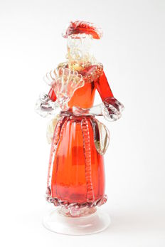 "A.VE.M.  (Murano) - collectable sculpture ""Lady with a fan"""
