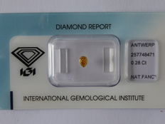Natural fancy INTENSE Orangy Yellow  diamond 0.28ct  with IGI certificate