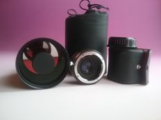OKINAR f-500 1-8 reflex objective and competitor OSAWA MC4 X2 telephoto lens