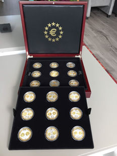 Europe - various Euro medals (18 different) in coffer - silver, partly gold-plated.