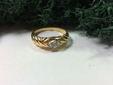 Women's ring made of 800 yellow gold with diamonds - ring size:  18 mm --- no reserve price