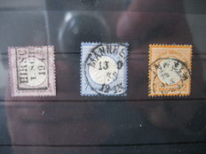 German Empire/Reich 1872 – Brustschild –  Michel 1, 6, 10, 14, 15 and 26
