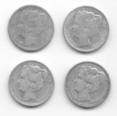 The Netherlands – 25 Cent coins 1901b, 1902, 1904  and 1905 Wilhelmina (4 Pieces) – Silver