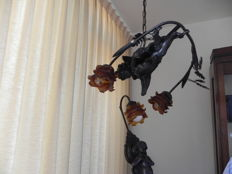 2 patinated zamac lights :1 wall and 1 matching pendant light with glass lamp shades - France -  second half of 20th century