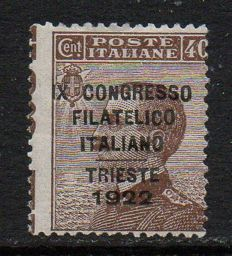 "Italy 1922 - 40 cents  "" ""IX Congresso Filatelico"" [IX Philatelic Congress] - Sassone n. 126."