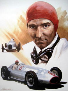"Giclee Art Print  - ""Manfred von Brauchitsch"" Driver for Mercedes-Benz Silver Arrows"