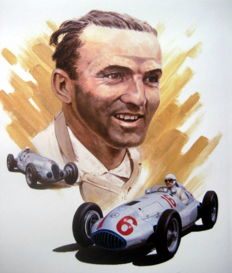 "Giclee Art Print  - ""Hermann Lang"" Driver for Mercedes-Benz Silver Arrows"