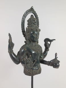 Bronze bust of goddess Durga - India - 21th century