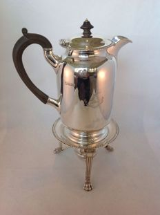 Silver Edwardian coffee set, pot with brazier - Sheffield - Edward & Co (Glasgow) - 1905