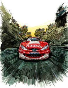 Marcus Gronholm Peugeot 206 WRC Rally Race Car - Art Print Poster - Hand signed by Artist Andrea Del Pesco + COA.