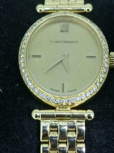C. GAUCHERAND  – Gold watch with diamonds.