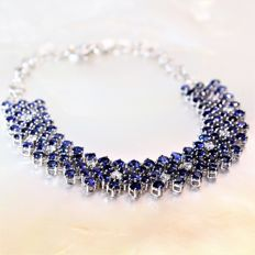 OG750 large tennis bracelet with sapphires and diamonds - max. length: 18.5 cm (adjustable)