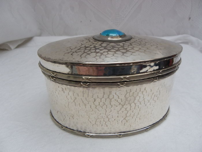 Arts & Crafts Silver Plate Pot. Blue Enamel Cabochon Rope Edge in the style of A. E. Jones, used for sale