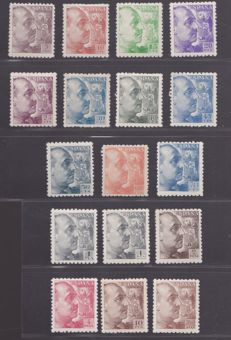 Spain 1940/1945 - Franco stamps with thick perforation - Edifil 919/935.
