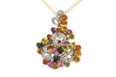 Pendant in 14 kt white gold with diamonds (0.33 ct) and coloured stones – 4 cm