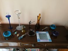 16 artistic glass pieces from the 1970s/80s, mixed, some very rare