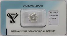 5.02 ct. Natural brilliant cut diamond Color I and Clarity I3