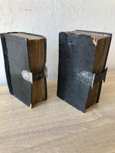 2 Antique Bibles with Dutch silver locks from the year 1853