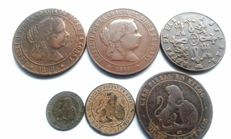 Spain - Lot of 6 coins, Isabel II (3), Provisional government (3)