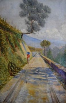 Unknown artist (signed P. Avallone, 20th century) - Country road