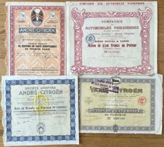 France - lot of 4 historical dekò shares of car companies (Citroën, Comp des Automobiles Parisienne S.A.) from 1909 to 1937