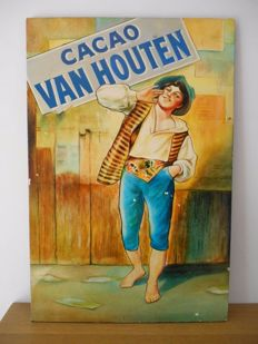 Large and heavy enamel sign for Cocoa Van Houten from 1980.