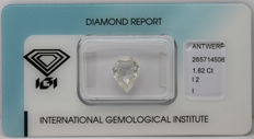 1.82 ct. Natural Pear cut diamond.