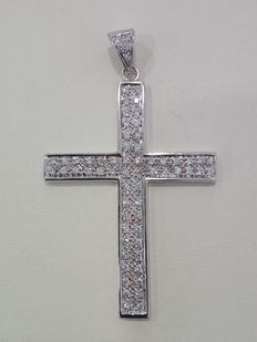 750 white gold crucifix with approx. 1.10 ct diamonds - Size: 6 cm