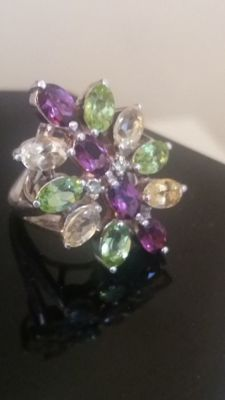 925 silver ring with 14 precious stones, ring size 17.25 mm