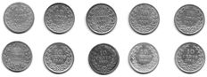 The Netherlands - 10 cents 1874/1885 (10 different coins) Willem III - silver