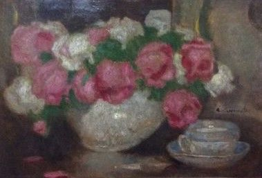 Alfons Karpiński (1875 - 1961, Poland) - Roses in the vase