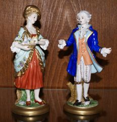 A couple made of Dresden porcelain - Without damage - With certification mark