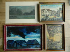 Corrie van Oorschot (1925-1995) and 3 unknown artists (20th century) - Four paintings