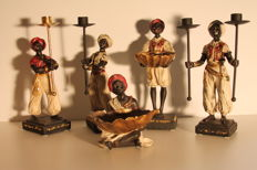 Five blackamoor statues with candlesticks and shell bowls, set of 5 pieces